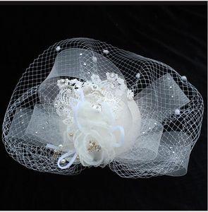 Sombreros de novia de moda popular de color beige para damas Sombreros de encaje Fascinator Sombreros Tocados Máscara Perlas Flor Etapa Accesorios de boda