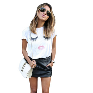 camisetas de mujer kawaii VEQKING eye print Camisetas blancas Loose Crew Neck Camisetas de manga corta Cute Eyelashes Lips Femininas NV20 RF