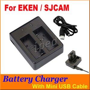Sjcam eken câmera de ação acessórios bateria carregador duplo para sj4000 sj5000 m10 com cabo usb h9 a9 g9 frete grátis dhl 10 pcs