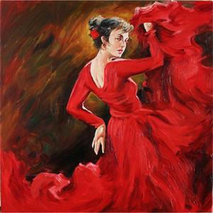 ev dekorasyonu için tuval resmine Flamenko Dansçıları Kırmızı yağda El yapımı Şekil sanat resimlerinde