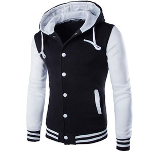 Nuova giacca da baseball con cappuccio Uomo Inverno Autunno 2017 Fashion Design Nero Mens Slim Fit Giacca da college Marca Elegante College Jacekt Veste Homme