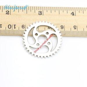Antique Silver Plated Gear Encantos Pingentes para Colar de Jóias Fazendo Artesanato DIY 23 / 31mm