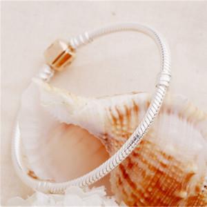 17-21CM Top-Marken-Frauen-Mann-Kettenarmband-Silber-Charme-Rosen-Goldarmbandarmband DIY Perlen passten Pandora-Armband feinen Schmuck mujer pulseira