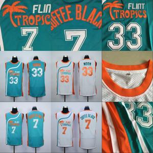 Mens 7 COFFEE BLACK 33 JACKIE MOON Flint Tropics Semi Pro Movie Jersey 100% Stitched Basketball Jerseys White Green High Quality