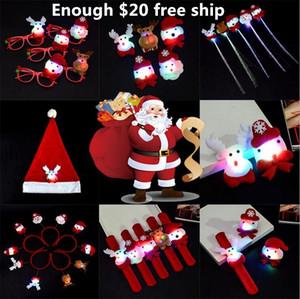 Juguete de iluminación de navidad barrette luminoso flash broche juguetes sombrero de navidad