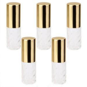 Rouleau de verre tourbillonnant transparent 5ml sur les bouteilles en verre vides Huiles essentielles - Rouleau de rouleau de verre rechargeable Roll-On - Gold Caps en aluminium