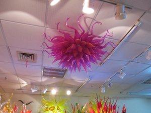 Fuente led 100% vidrio soplado a mano de borosilicato Dale Chihuly Murano Art Lighting Special Purple Glass Chandelier