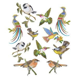 1PCs Bird Patches Stripes Clothing Aplicaciones bordadas Iron-On Parches Applique Stickers para insignias de ropa