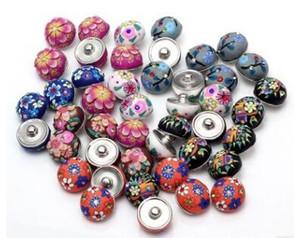 Charm Bilezik Takı Toptan SNAP Chunks Metal Zencefil çekin Düğmeleri Boyama DIY Karışık renkli Yuvarlak Kil Çiçek
