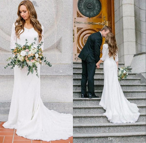 Свадебные платья с длинными рукавами из богемного кантри Белое кружево Шифон V-образным вырезом