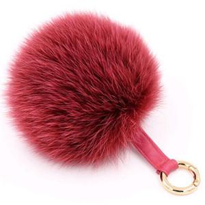 Key Chain Fur Ball Keychain for Womens Bag Backpack Accessories Car Key RingTop Quality Dyed Popular Fur Pom Pom Keychain