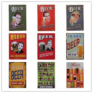 الجليد الباردة البيرة الرجعية ريفي القصدير المعادن تسجيل جدار ديكور خمر تين المشارك مقهى متجر بار ديكور المنزل