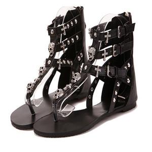 Gros-2016 crâne plat sandales femmes chaussures d'été style romain mode sandales chaussures femmes sandales plates pantoufles tongs