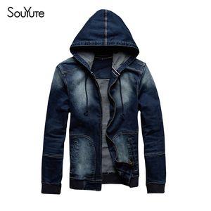 Otoño-2016 Otoño Nueva llegada Souyute Men's Hat Denim Jacket Ropa deportiva exterior Casual Hoodies Jeans Tamaño de la chaqueta M-XL 801