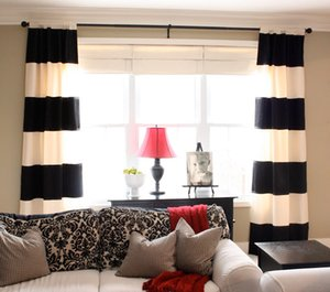 Wholesale-ONE PIECE ONLY cotton black and white horizontal stripe curtain good for the living room curtain modern style curtain