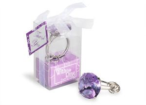 Mariage bon marché Accueil Party Favors Cadeaux de mariage bague en diamant Porte-clés Accessoires Faveurs de mariage et cadeaux pour les clients 50Pcs / Lot