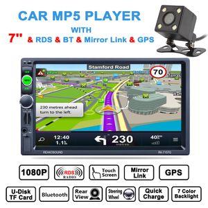 DHL Ücretsiz 7 Inç HD 2 Din Bluetooth Araç Stereo MP5 Çalar GPS Navigasyon AM FM RDS Radyo Desteği Ayna Bağlantı Aux + Dikiz Kamera CMO_22H