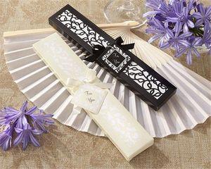 Venda quente Chinês Imitação De Seda Lado Em Branco Lado Ventiladores de Casamento Ventilador Decoração Acessórios de Noiva Casamentos Presentes de Clientes 50 PCS Por pacote
