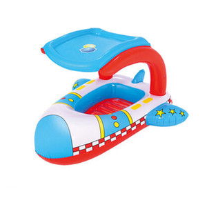 Thickened Swimming Ring Inflatable Sunshade Cartoon Airplane Colorful Sitting Ring Kid Life Ring for Baby Child