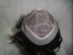 Pieza de la PU del pelo El cordón de las pelucas europea completa de Pelo Negro del pelo recto; 21cm * 16cm PU MONO WIGS puede diseñar la buena calidad de la armadura de pelucas