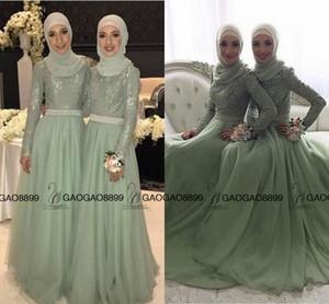 2019 Mint Sage Lace Tulle maniche lunghe abiti da damigella musulmani Mumu collo alto Elegante Plus Size damigelle d'onore abiti da festa per ospiti