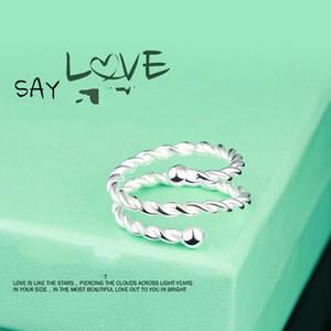 925 Sterling Silber Schmuck Korean Fashion Twist Doppelring Mode Feingewinde Joint Ringöffnung