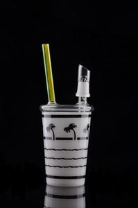 Único árbol de coco aparejos taza hoja de arce tazas de Starbucks vidrio grueso Bong pequeño reciclador tubos de agua envío gratis