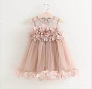 2016 New Summer Cute Girls Petal Dress Children Kids Lace Net Yarn Sleeveless Princess Dresses Baby Girl Vest Dress For 2-7Years 5pcs lot
