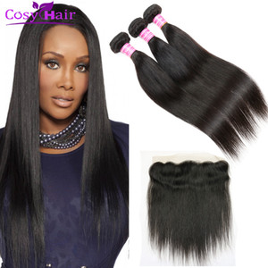 human virgin hair straight wefts with lace frontal weave bundles brazilian virgin hair straight closure extensions with ear to ear