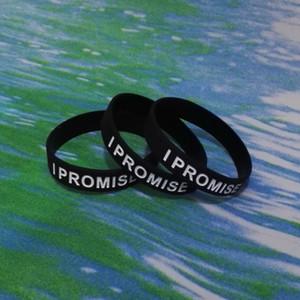 100PCS высокого качества I PROMISE Debossed и чернила заполненные резиновые силиконовые браслеты браслеты для рекламных подарков SS002
