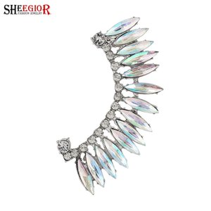 SHEEGIOR Vintage Lovely Crystal Ear Cuff Earrings for Women Rhinestone Clip on Earcuff Fashion Jewelry Accessories Gifts