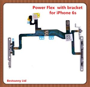 Orijinal Güç Düğmesi ON / OFF Anahtarı Flaş Işığı Flex Kablo iPhone 6 için Replacment Artı 6 S 6 S Artı Metal Parantez ile önceden yüklenmiş