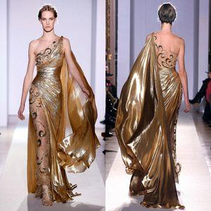 Zuhair Murad Haute Couture Aplikler Altın Abiye 2016 Uzun Mermaid Tek Omuz Aplikler ile Şeffaf Vintage Yarışması Balo Abiye 939