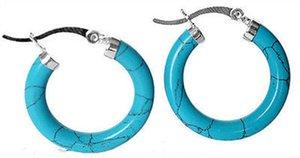 Pendientes de plata turquesa del anillo de la nueva plata esterlina 925 de las mujeres-Leverback