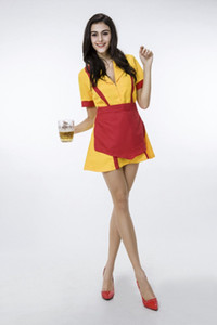 2017 Halloween Costumes TV 2 Broke Girls Max와 Caroline Costume 여성 멋진 파티 복장 Cosplay