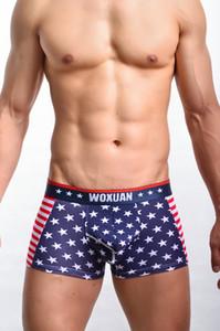 Vente chaude Sexy Hommes Drapeau USA Boxer Stripe Respirant Boxer Star Jockstrap Bermudas Masculina De Marca Sexy Ondergoed FX1012