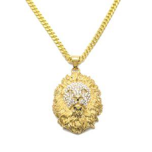 Animal King Lion Head colgante, collar de hombres Hiphop colgantes de diamantes de imitación de acero inoxidable encanto bling cristal collar de oro de moda rap joyería