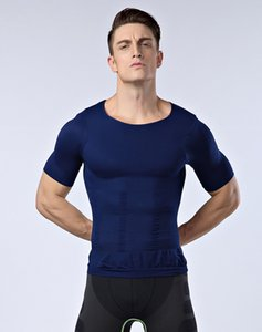 Wholesale-Men Lose weight slimming vest tops waist belt reduce belly stomach shapewear posture corrector t shirt tight chest shaper