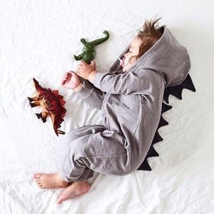 Bebé dinossauro animais macacão garoto Hoodie romper roupas longas manga pijama zipper barbatanas bodysuit do Dia das Bruxas macacões roupas boutique
