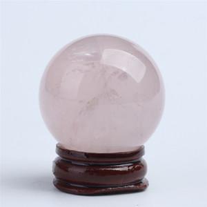 HJT Atacado 70g Natural Rose bola Esfera de cristal / rosa esfera de cura de cristal para venda Chrismas Casa Decorações pequena bola de cristal 35mm