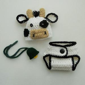 Disfraz de vaca blanca linda para recién nacidos, gorro de vaca hecho a mano para bebé, niña, granja, tapa de pañal, conjunto de campana, gorro de animal, accesorio de fotografía para niños pequeños