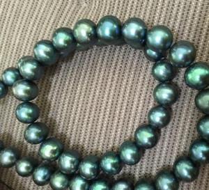 9-10mm Südsee-Pfau-Grün-Perlen-Halskette 18 Zoll 14k Gold-Schließe