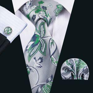 Chine Cravates de soie Hommes Silve et Vert Beaux cravates Boutons de manchette pour une occasion décontractée formelle N-1604