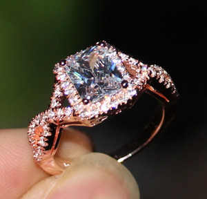 Новые прекрасные женщины мода ювелирные изделия принцесса вырезать стерлингового серебра 925 имитация алмазов Роуз позолоченные обручальное кольцо кольца с коробкой
