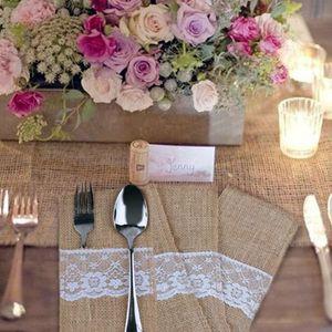Кружева мешковины столовые приборы держатели сумка посуда сумка для хранения белья старинные сердца свадьба поставки Рождественская посуда украшения столовые приборы