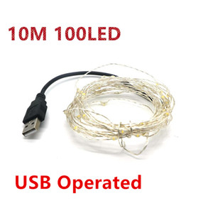 10M 100LEDs 33ft 5V USB LED String Lighting Sliver Wire Starry Light USB Power Christmas Wedding Party Decoration