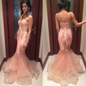 2016 Nueva Pink Mermaid Prom Dresses Sweetheart Lace Appliques Satén Tulle Ruffles Long Sweep Train Formal Vestido de fiesta barato Vestidos de noche