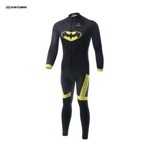 2016 kostenloser versand XINTOWN 3D Druck Batman Long Sleeves Radtrikot Set Schnell Trocken Mtb Bike Kleidung Shirt Lange Hosen Atmungsaktive Lätzchen