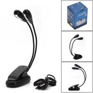 Wholesale- New Flexible 2 Dual-Arm-Licht 4 LED-Klipp auf Lampe für Buch-Lese Tablet Laptop