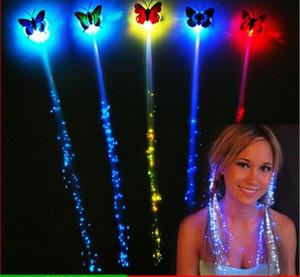 DHL Flash LED Pein Braid Luminoso Luminoso LED Pelo Extension Party Glow Fiber óptico Mariposa LED Luces de noche con clip